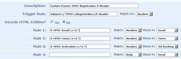 Configuring an Email Parser for X-Headers