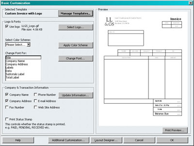 Figure 2: Basic Customization Dialog. To Create A Custom Invoice ...  Custom Invoice Template
